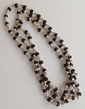 кантхи-малы тёмные 1,5 ряда серебро без нарезки (насечки)
